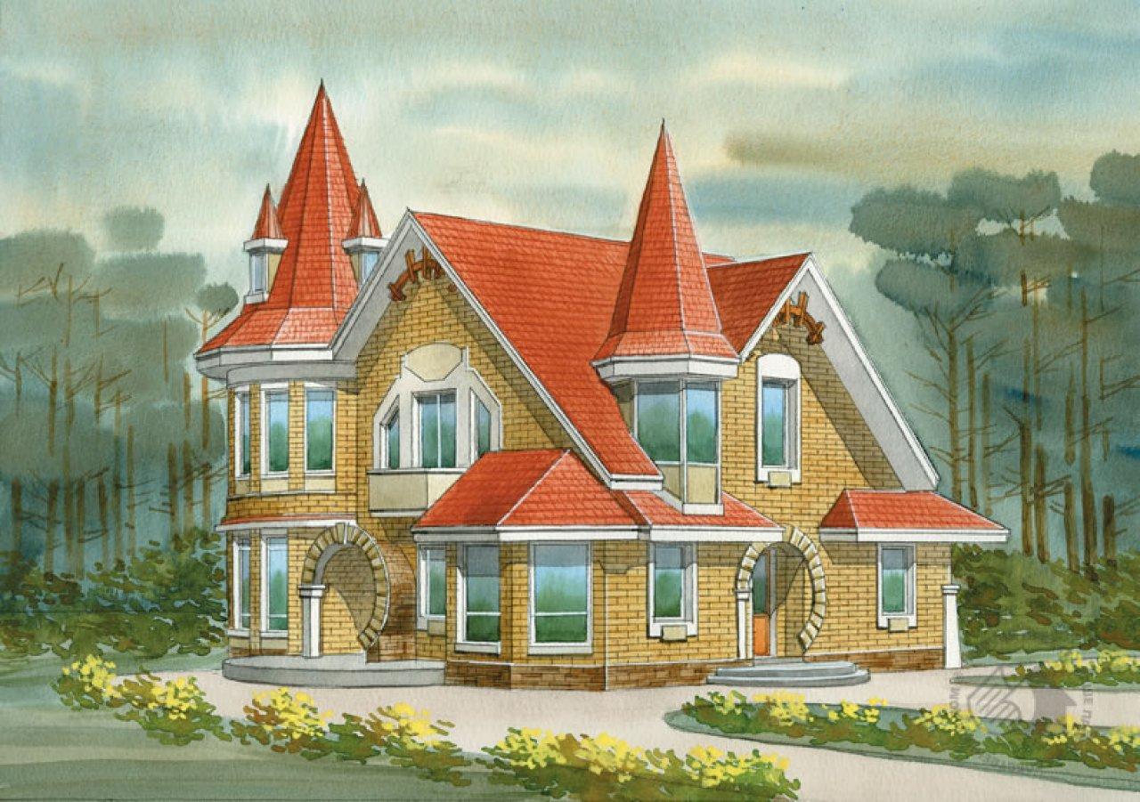 Рисунки домов с башнями